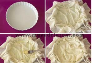 خمیر را در قالب چرب شده قرار دهید طوری که اطراف خمیر از ظرف بیرون باشد